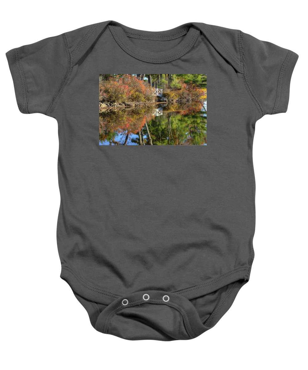 Fall Baby Onesie featuring the photograph Bridge Over Fall Waters by Donna Doherty