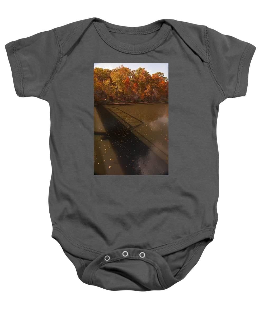 Bridge Photographs Baby Onesie featuring the photograph Bridge Shadow In Autumn On The Duck River Tennessee Fine Art Prints As Gift For The Holidays by Jerry Cowart