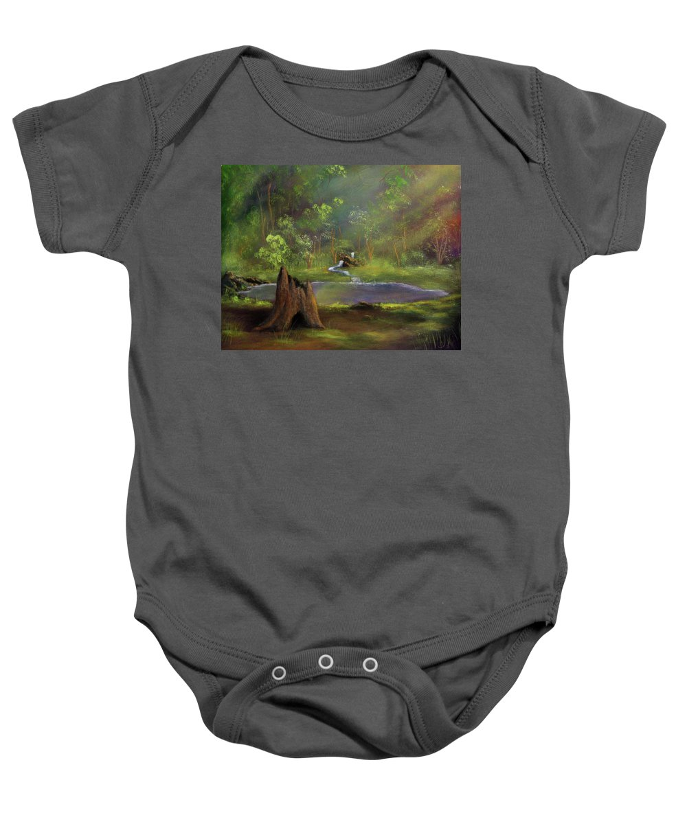 Stump Baby Onesie featuring the painting Brightening by Dawn Blair