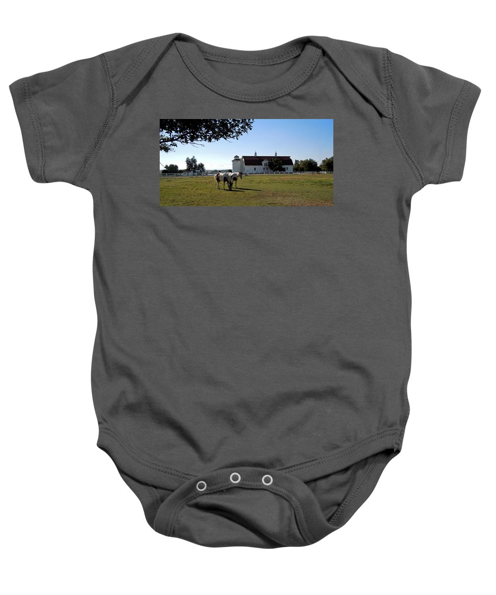 Brighton Baby Onesie featuring the painting Brighton Barn And Horses by Heather Coen