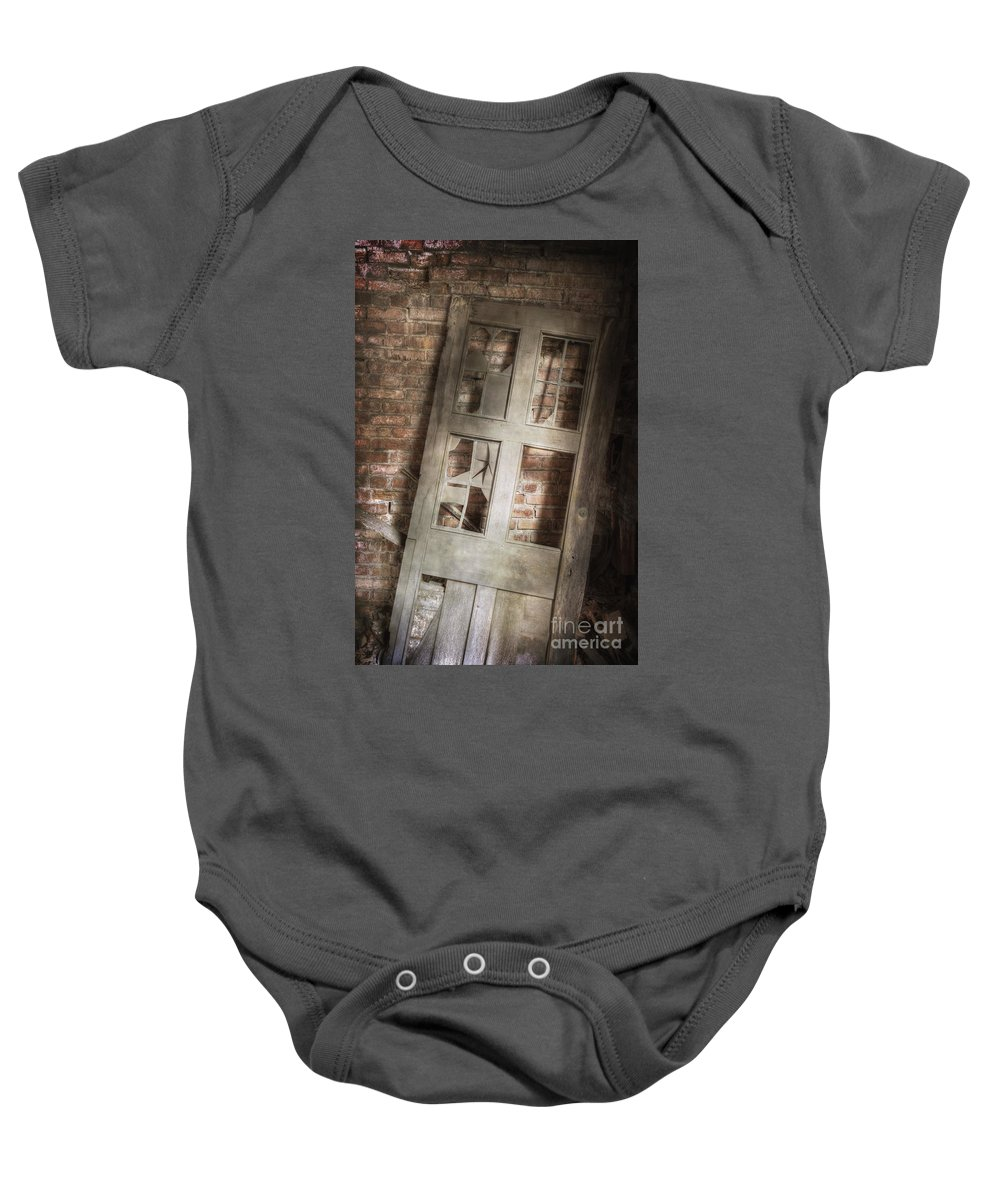 Door Baby Onesie featuring the photograph Broken And Broken by Margie Hurwich