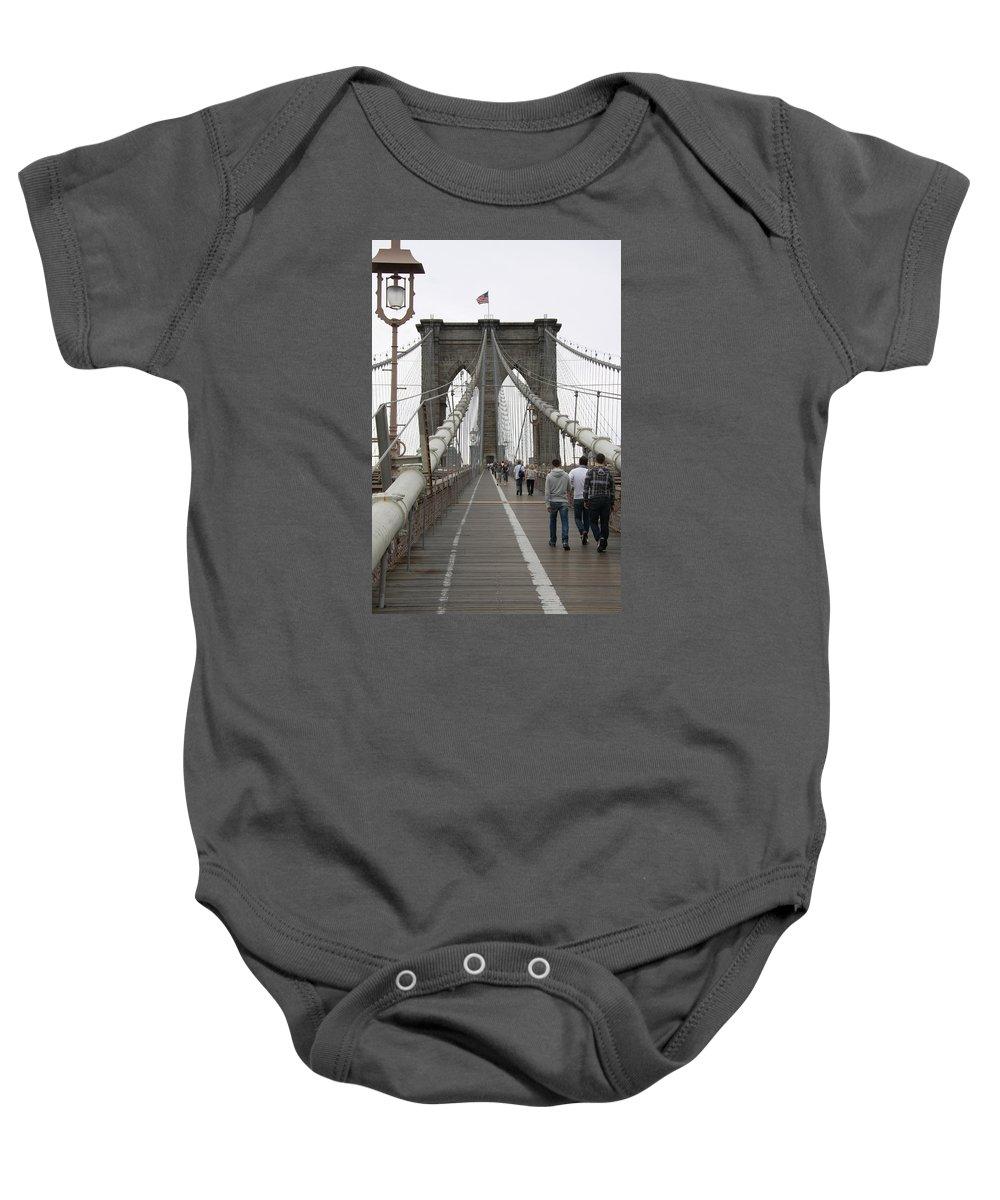 Bridge Baby Onesie featuring the photograph Brooklyn Bridge II by Christiane Schulze Art And Photography