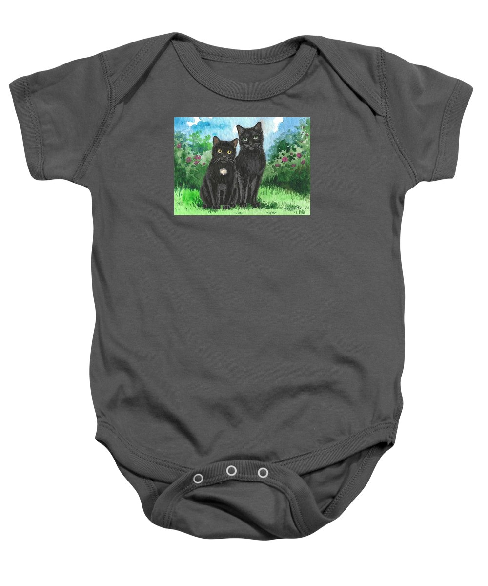 Print Baby Onesie featuring the painting Brothers by Margaryta Yermolayeva