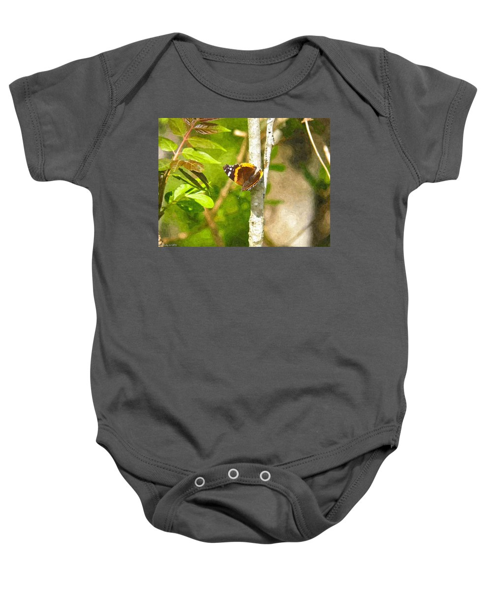Brown Baby Onesie featuring the photograph Brown Butterfly 2 by Nick Kirby