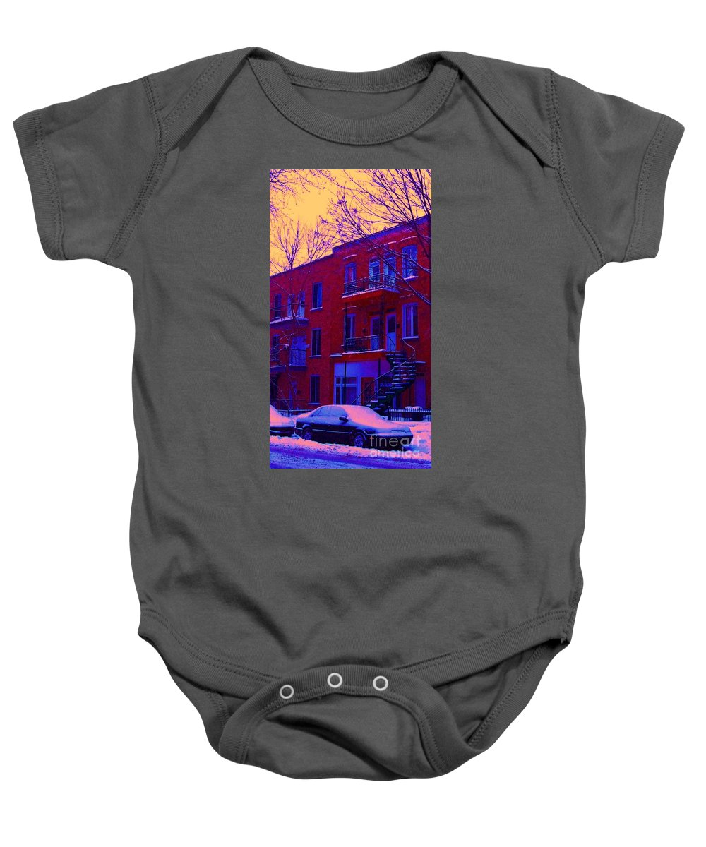 Montreal Baby Onesie featuring the photograph Brownstones In Winter 6 by Carole Spandau