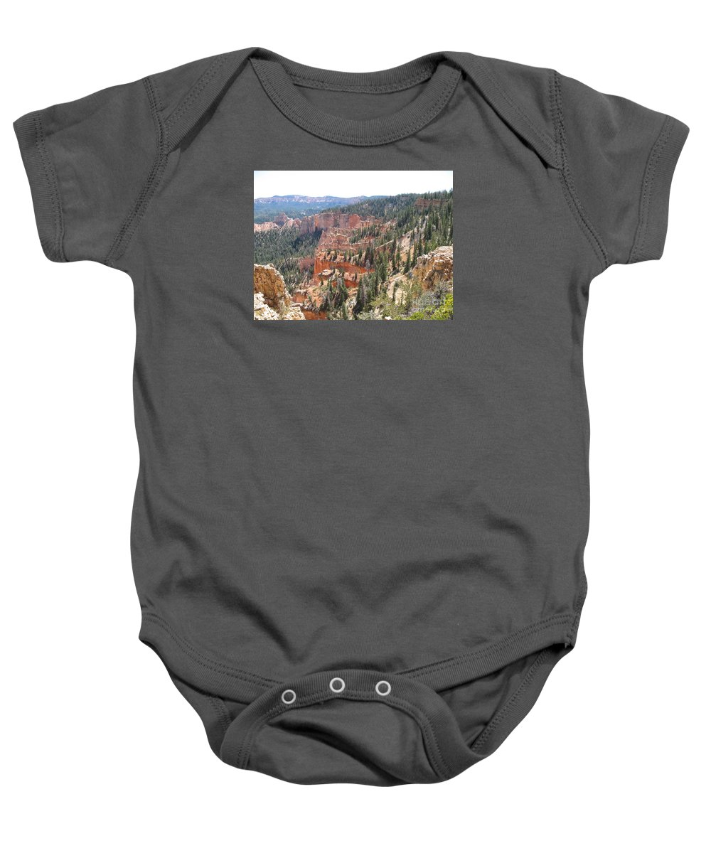 Rocks Baby Onesie featuring the photograph Bryce Canyon View by Christiane Schulze Art And Photography