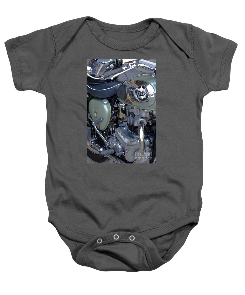 Bsa Baby Onesie featuring the photograph Bsa Motorcycle by Terri Waters