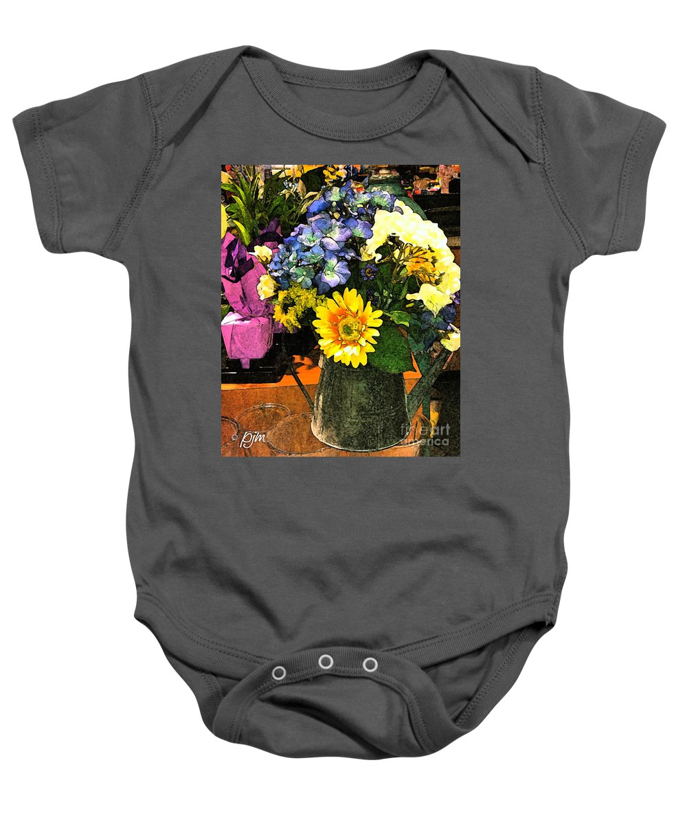 Flowers Framed Prints Baby Onesie featuring the photograph Bucket Of Flowers by Phil Mancuso