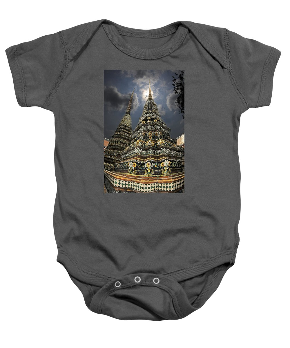 Buddhist Baby Onesie featuring the photograph Buddhist Temple In Bangkok Thailand Buddhism Wat Po by Dray Van Beeck