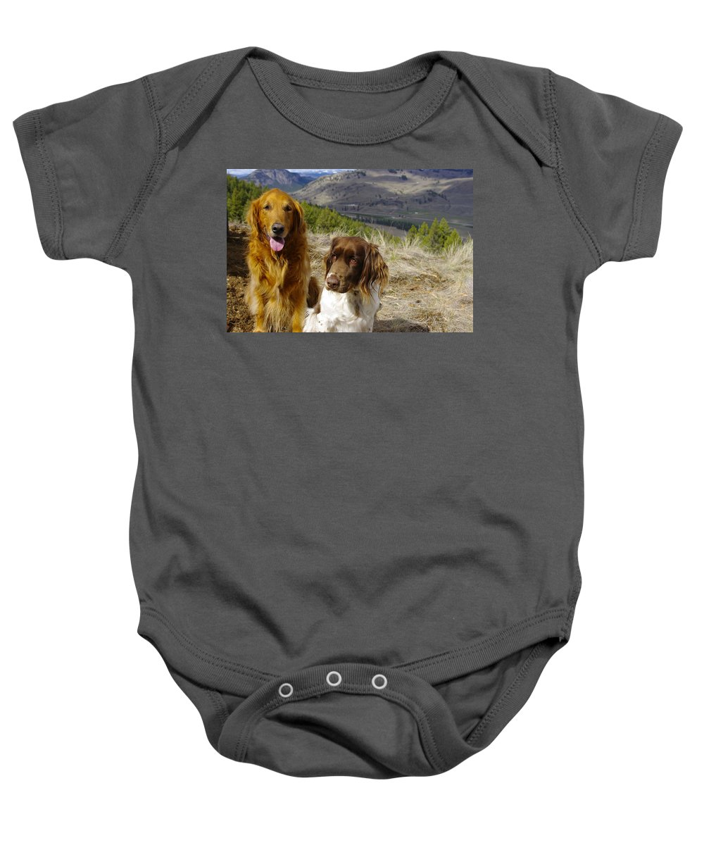 Dogs Baby Onesie featuring the photograph Budds On A Hike by John Greaves