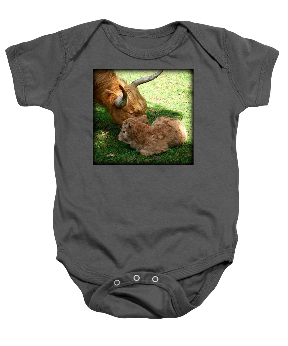 Cow Baby Onesie featuring the photograph Buffie's First Bath by Kathy Sampson