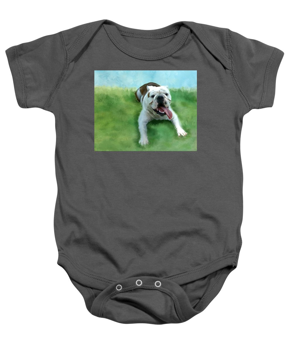 Dogs Baby Onesie featuring the mixed media Bulldog by Colleen Taylor