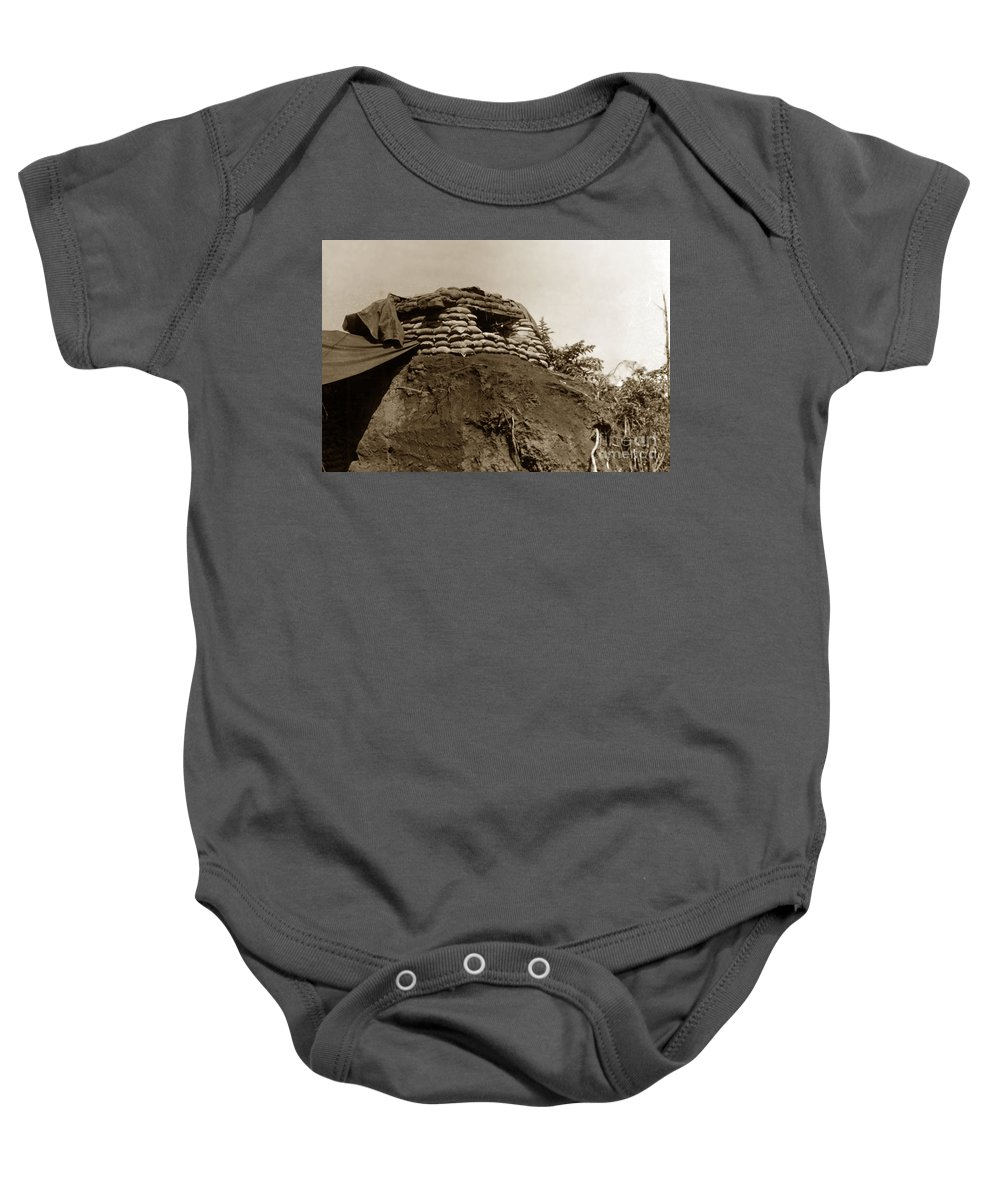 Dak To Baby Onesie featuring the photograph Bunker Above The Dak Poko River Near Dak To Kontum Province Vietnam 1968 by California Views Mr Pat Hathaway Archives
