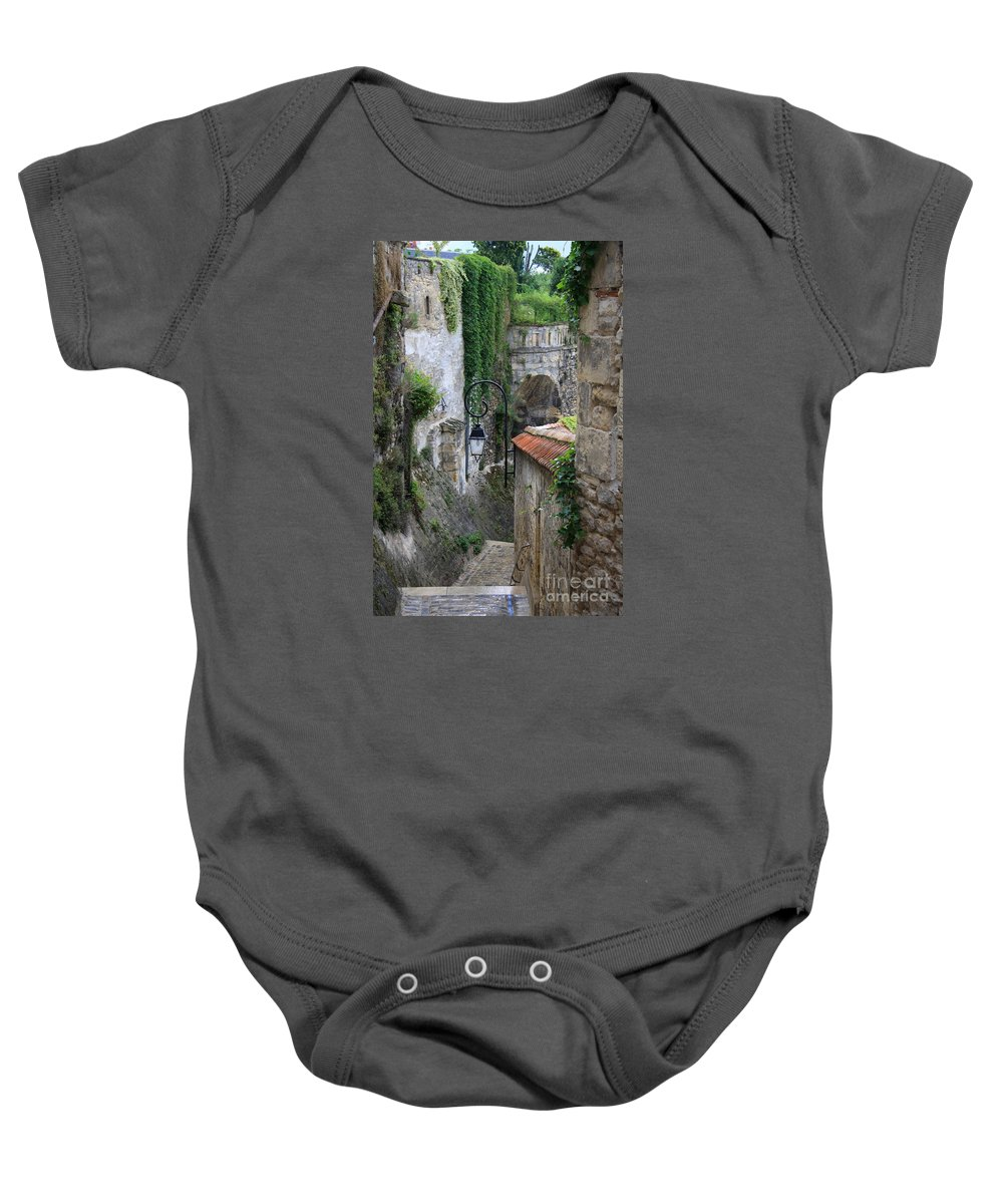 Alley Baby Onesie featuring the photograph Burgundy Alley by Christiane Schulze Art And Photography