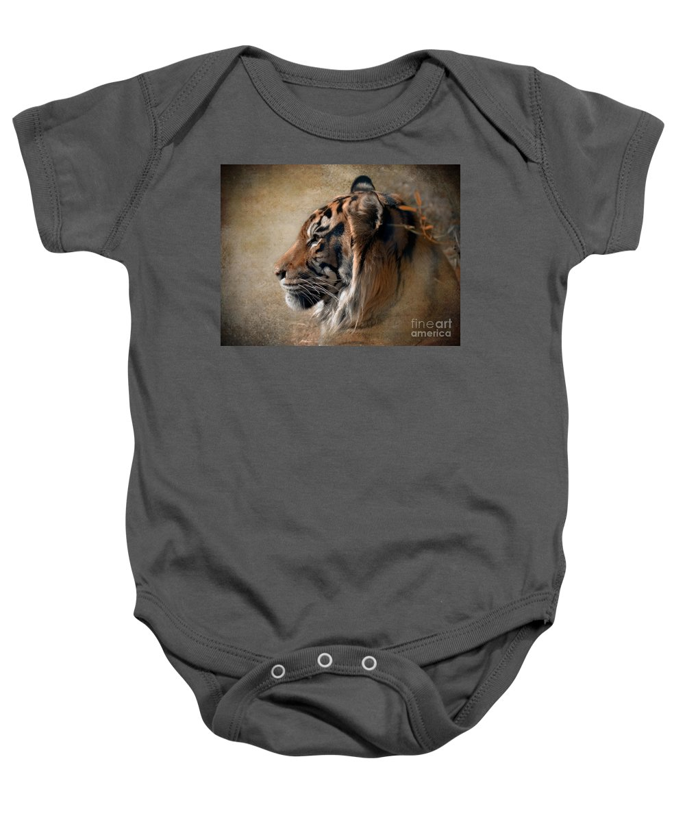 Tiger Baby Onesie featuring the photograph Burning Bright by Betty LaRue
