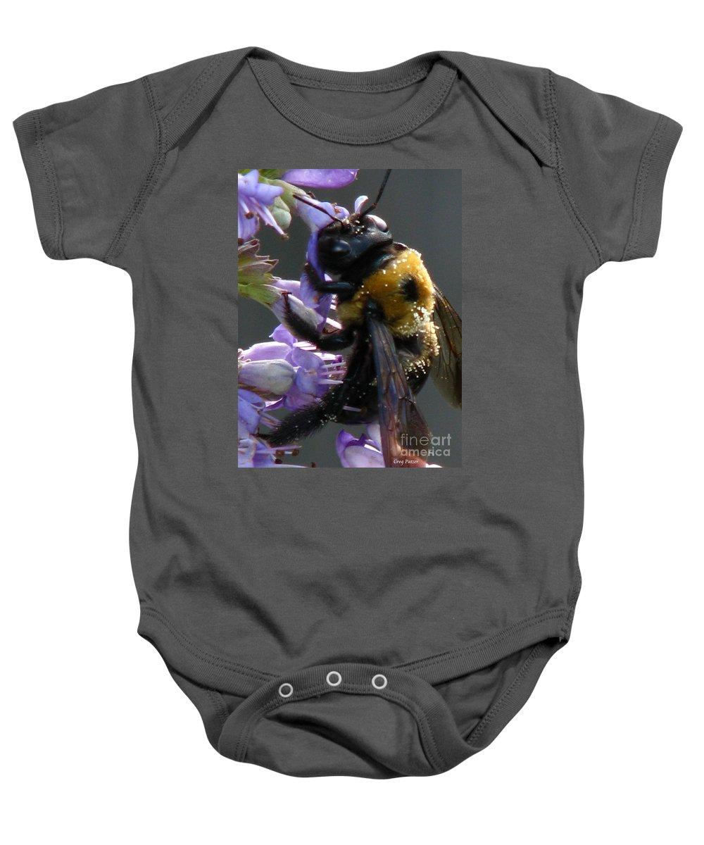 Patzer Baby Onesie featuring the photograph Busy Bee by Greg Patzer