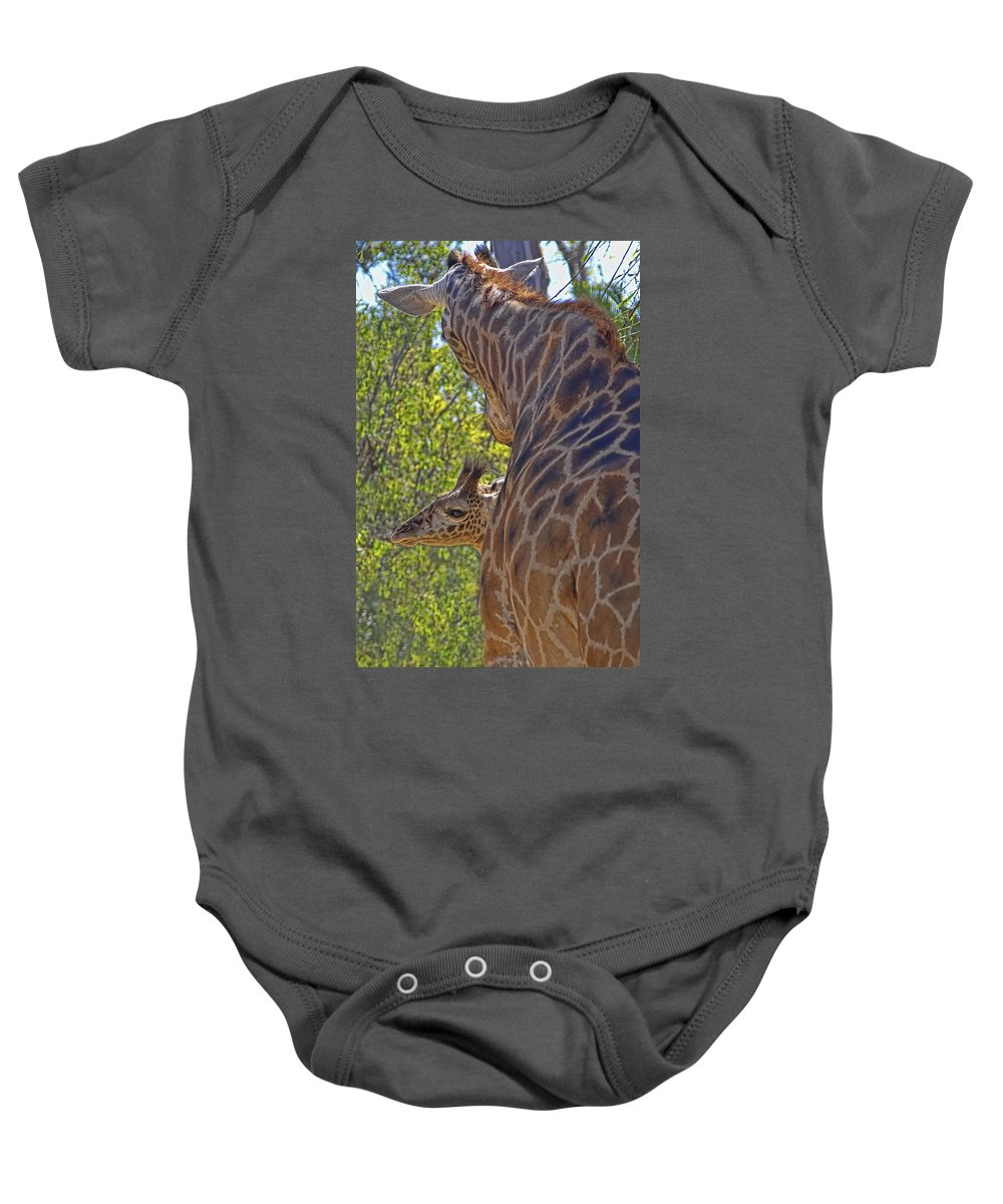 Giraffe Baby Onesie featuring the photograph But Mom I'm Bored by Gary Holmes
