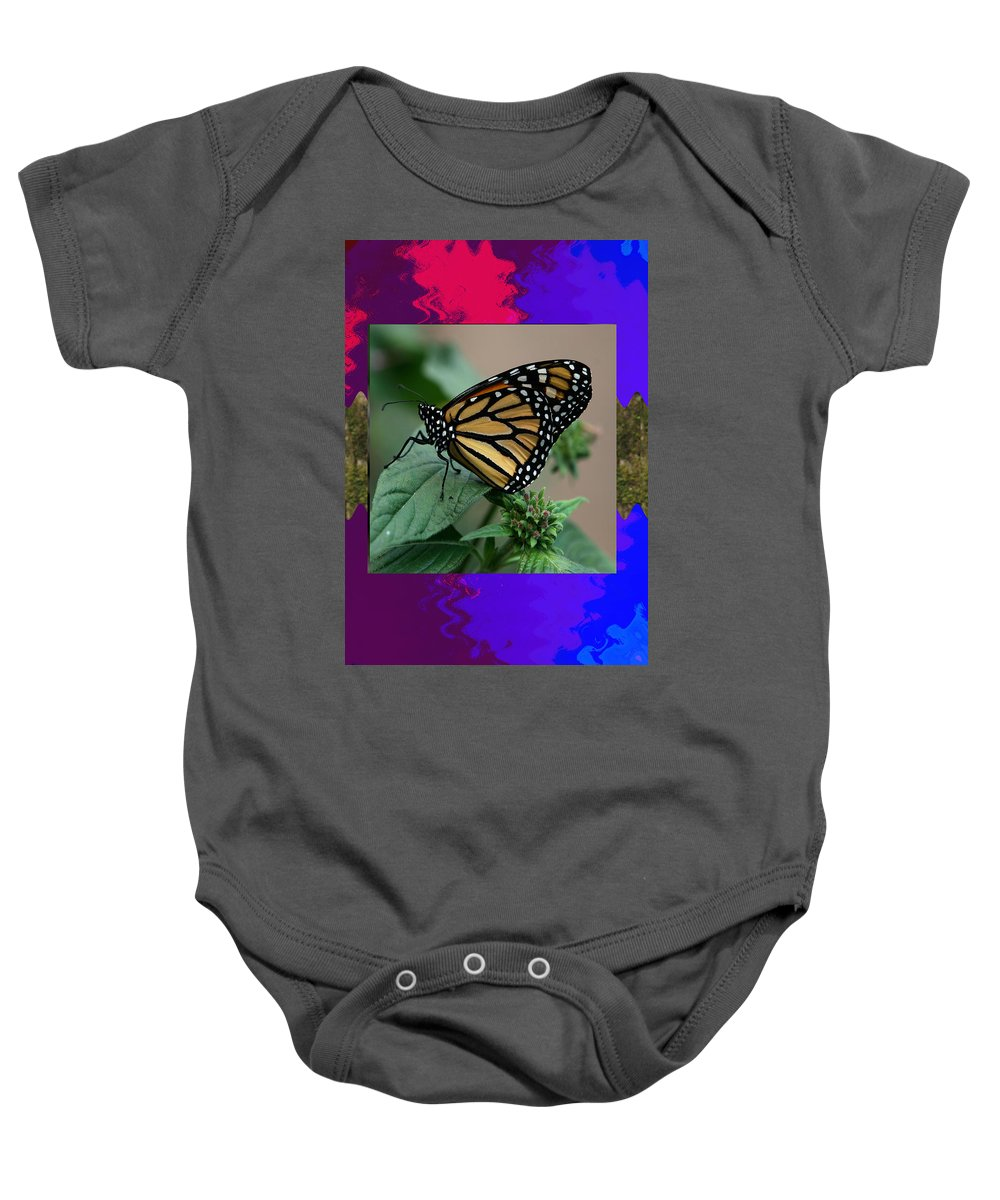 Butterfly Baby Onesie featuring the mixed media Butterfly Gold Photograph Insect Taken At Costa Rica Travel Vacation Unique Digital Painted Border B by Navin Joshi