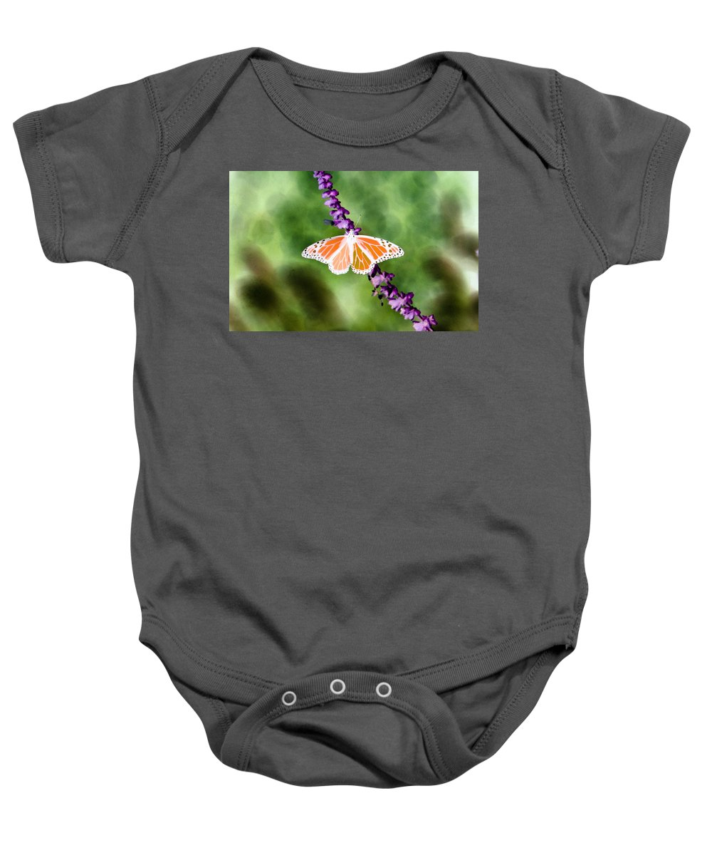 Butterfly Baby Onesie featuring the photograph Butterfly - Monarch - Photopower 319 by Pamela Critchlow