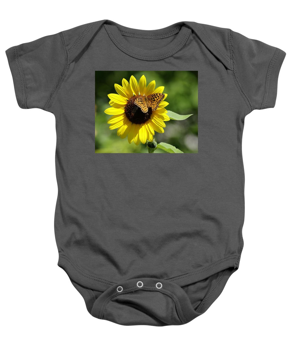 Spokane Baby Onesie featuring the photograph Butterfly Sunflower by Ben Upham III