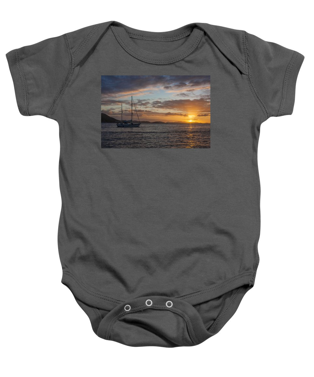 3scape Baby Onesie featuring the photograph Bvi Sunset by Adam Romanowicz