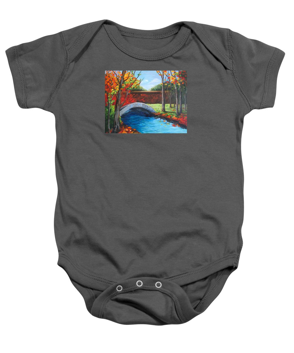 Landscape Baby Onesie featuring the painting By The Bridge by Rosie Sherman
