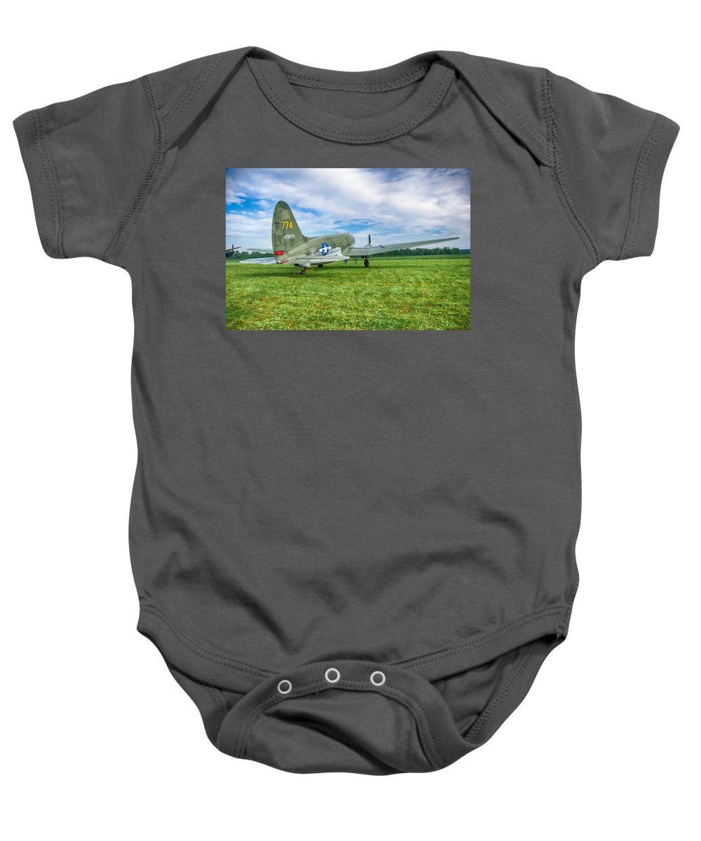 Aviation Baby Onesie featuring the photograph C-46 Commando Tinker Belle 3785h by Guy Whiteley