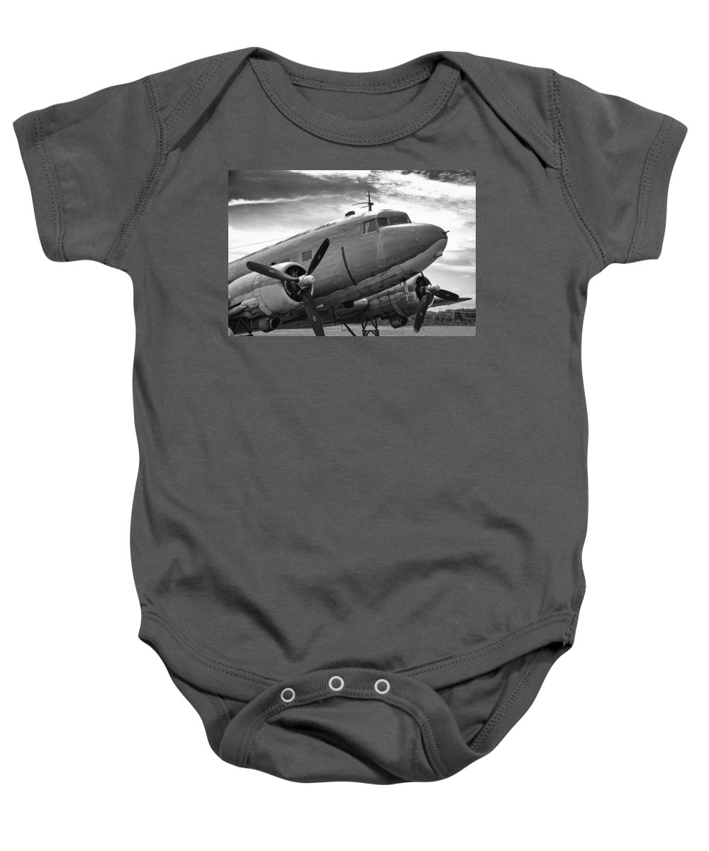 Aviation Baby Onesie featuring the photograph C-47 Skytrain by Guy Whiteley