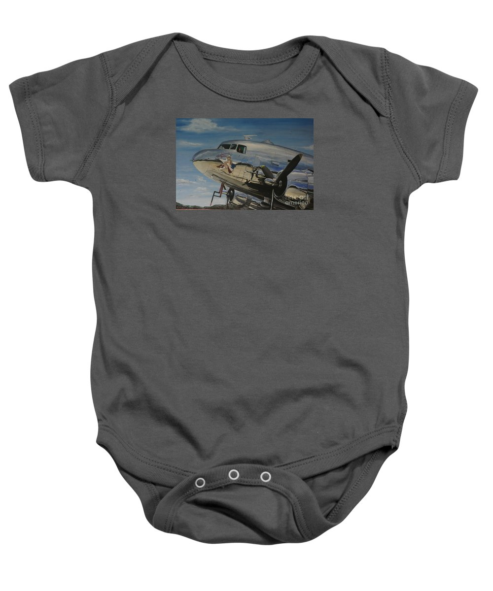 Warbirds Baby Onesie featuring the painting C47b Skytrain Bluebonnet Belle Warbird 1944 by Richard John Holden RA