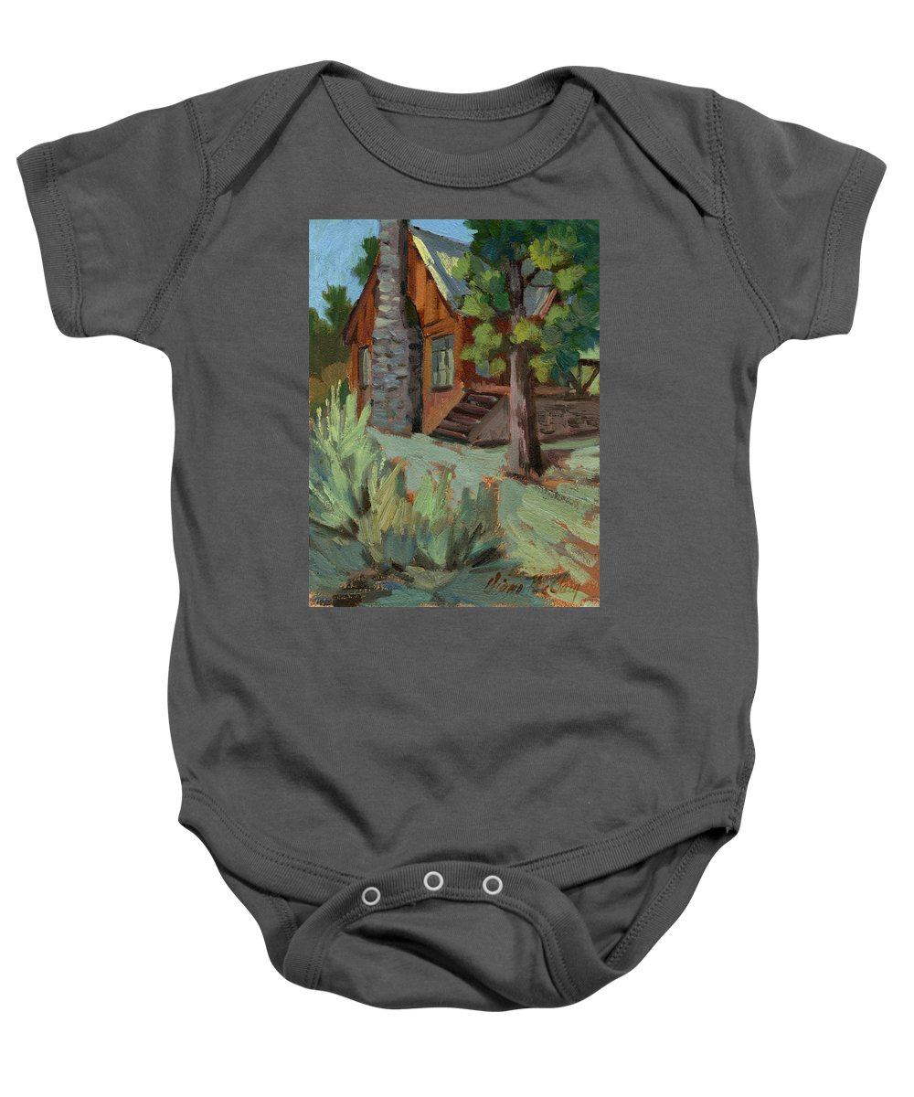 Cabin Baby Onesie featuring the painting Cabin At Big Bear Lake by Diane McClary