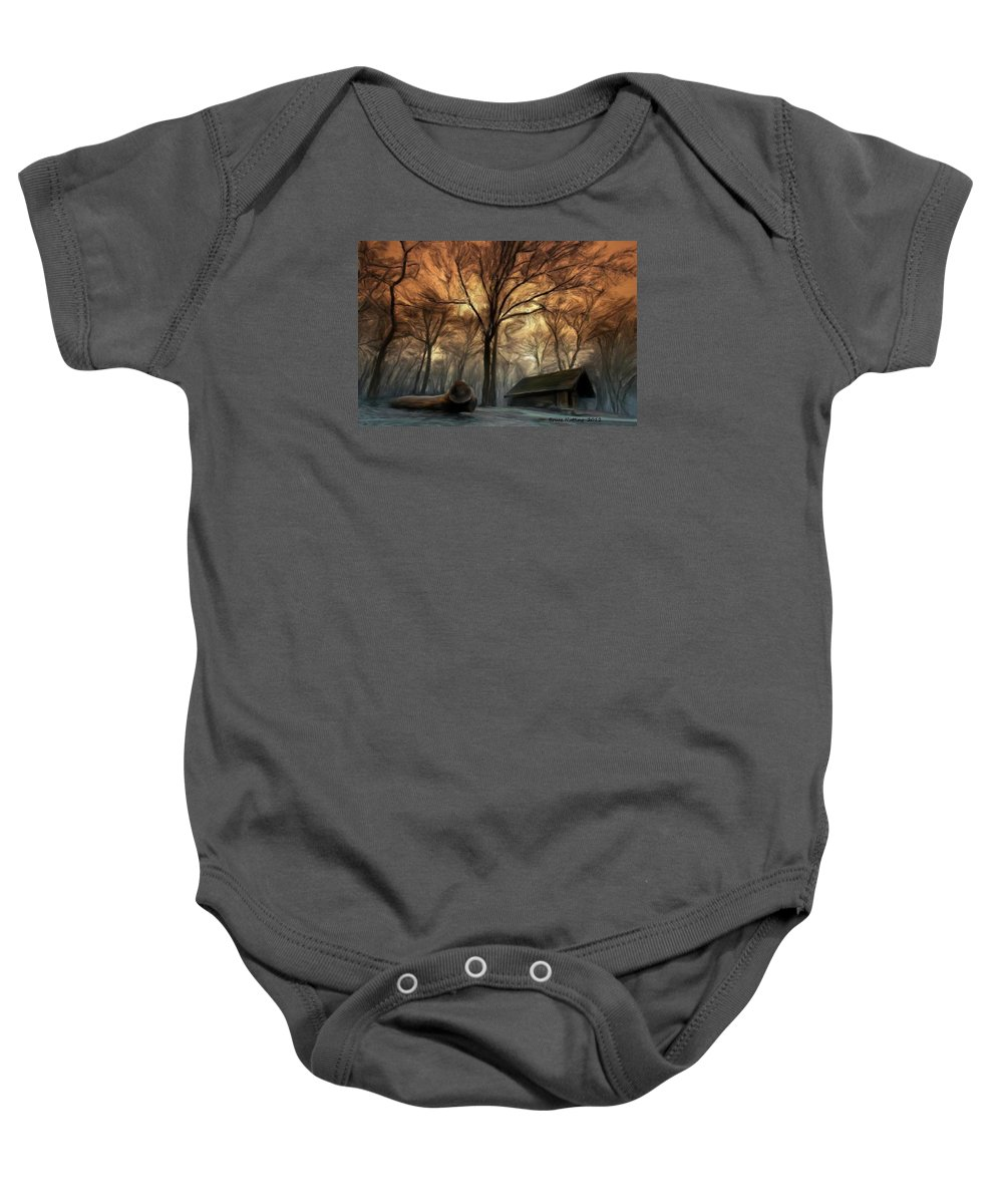 Cabin Baby Onesie featuring the painting Cabin In The Woods by Bruce Nutting