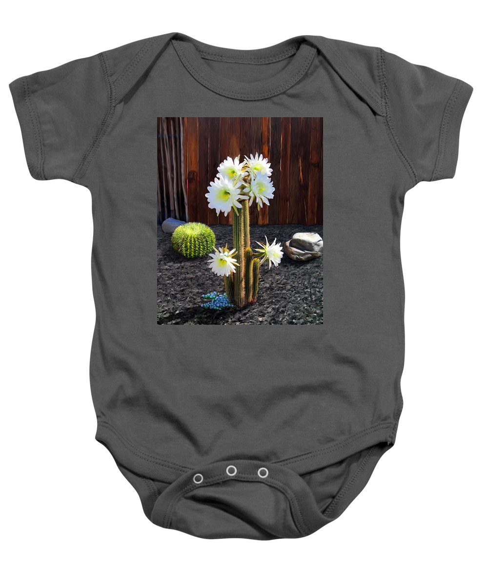 Cactus Baby Onesie featuring the painting Cactus Blooms by Snake Jagger
