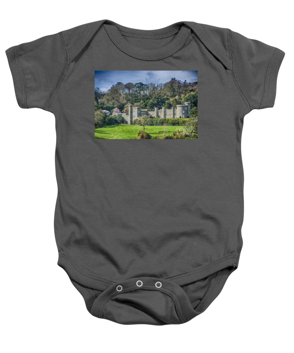 Cornwall Canvas Baby Onesie featuring the photograph Caerhays Castle by Chris Thaxter