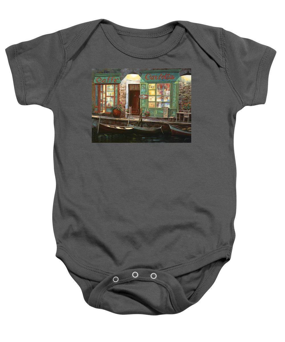 Venice Baby Onesie featuring the painting caffe Carlotta by Guido Borelli
