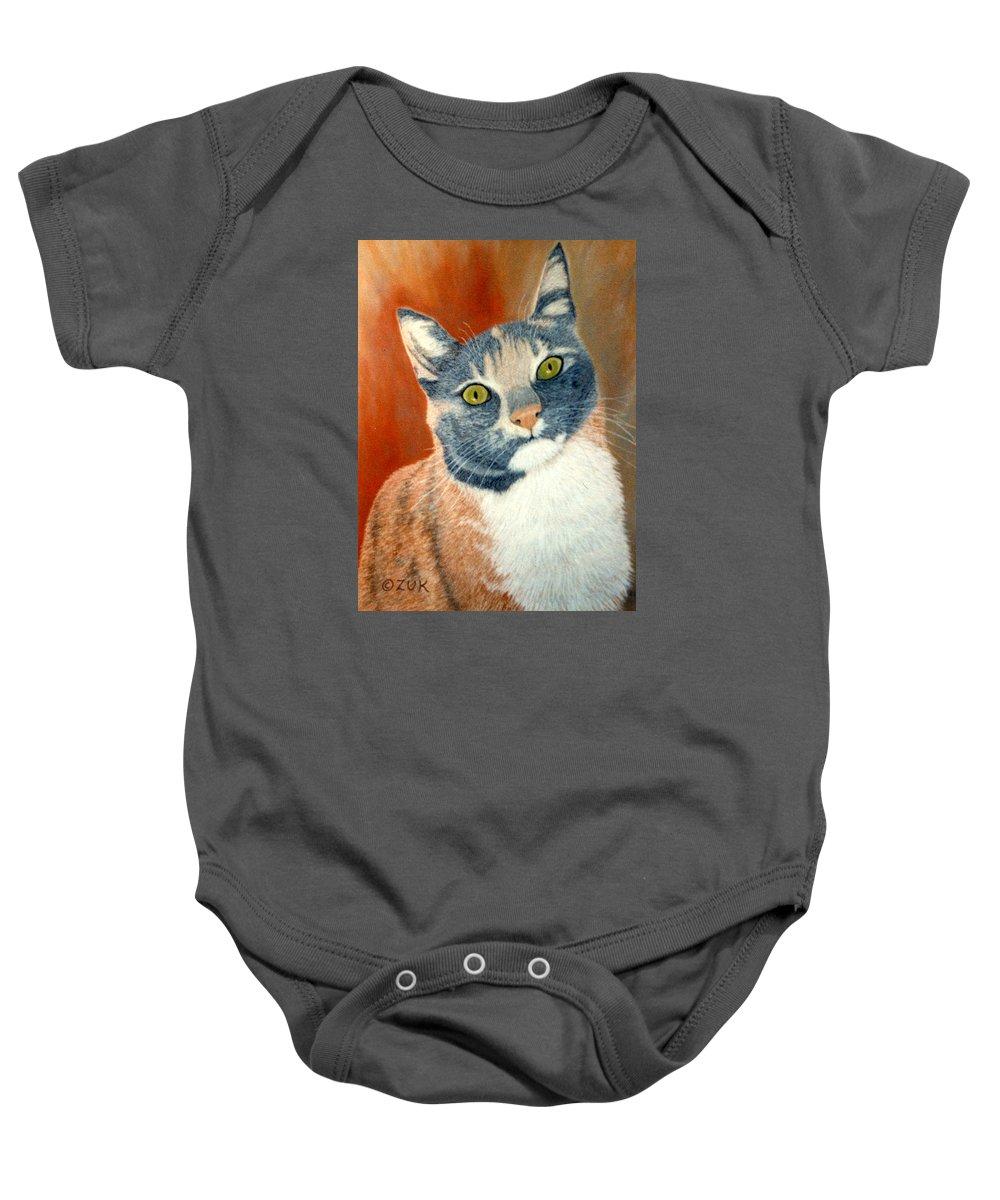 Karen Zuk Rosenblatt Art And Photography Baby Onesie featuring the painting Calico Cat by Karen Zuk Rosenblatt
