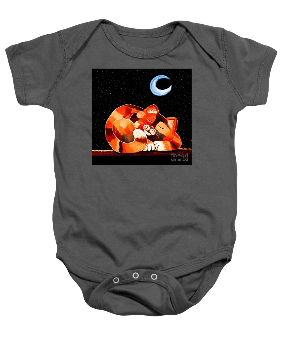 Cat Baby Onesie featuring the painting Calico In The Moonlight by Nick Gustafson