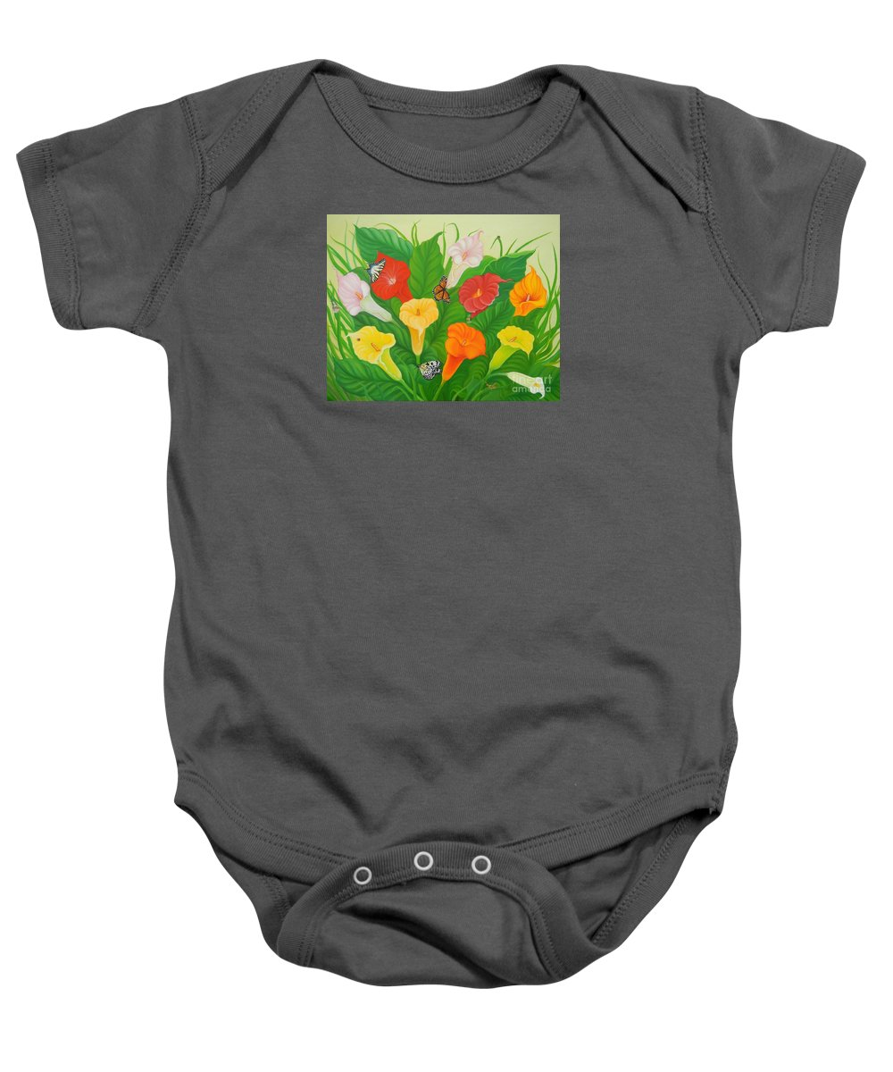 Calla Lilies Baby Onesie featuring the painting Calla Lilies by Loreta Mickiene