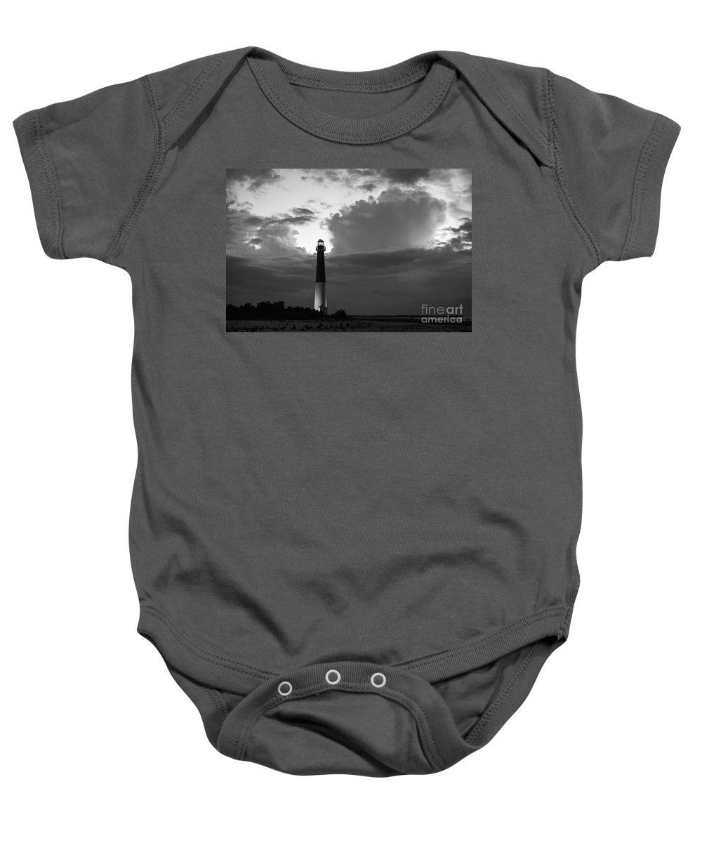 Barnegat Lighthouse Baby Onesie featuring the photograph Calm Before The Storm by Michael Ver Sprill