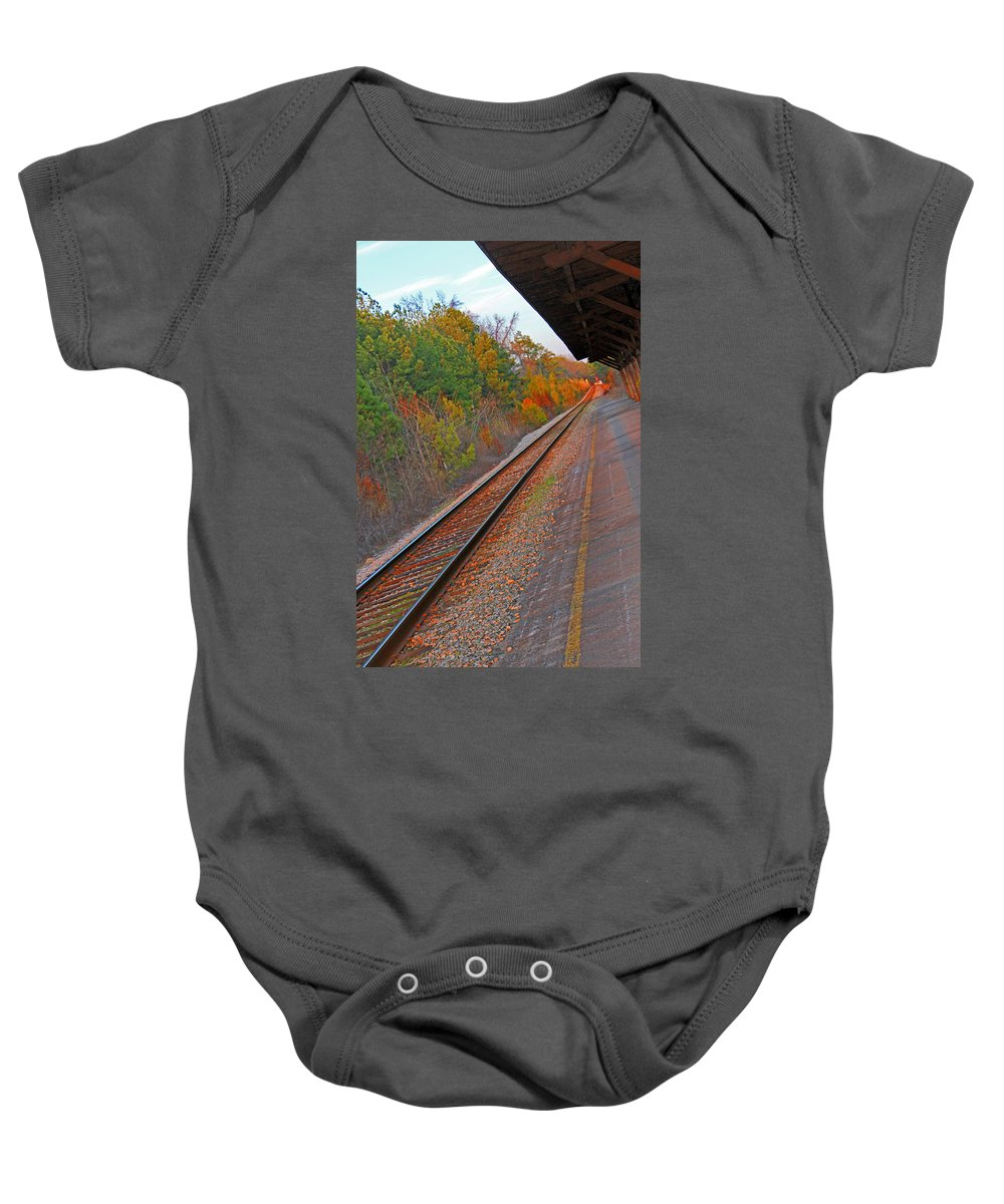 Rail Baby Onesie featuring the photograph Camden Sc Station4603 by Carolyn Stagger Cokley