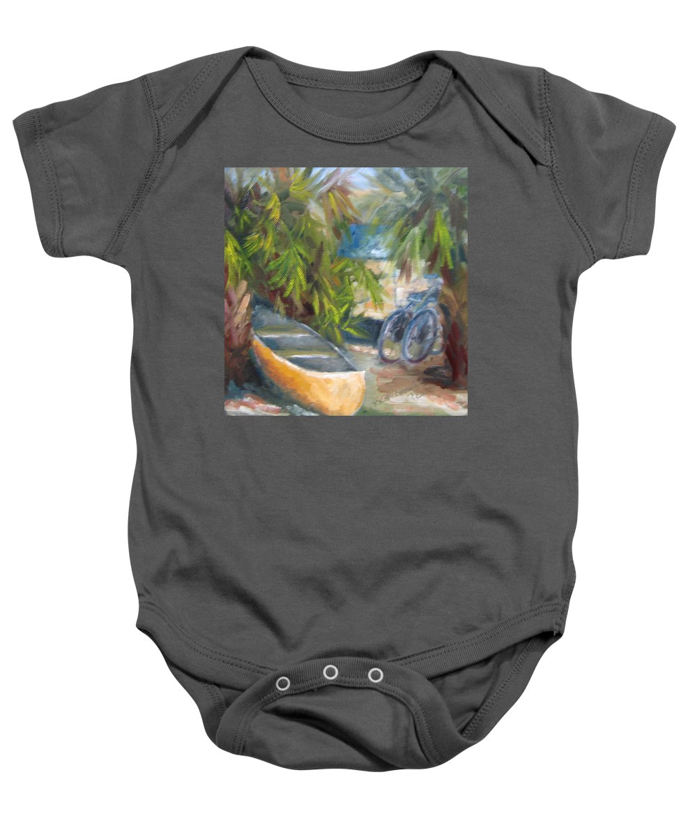 Canoe Baby Onesie featuring the painting Campground by Susan Richardson