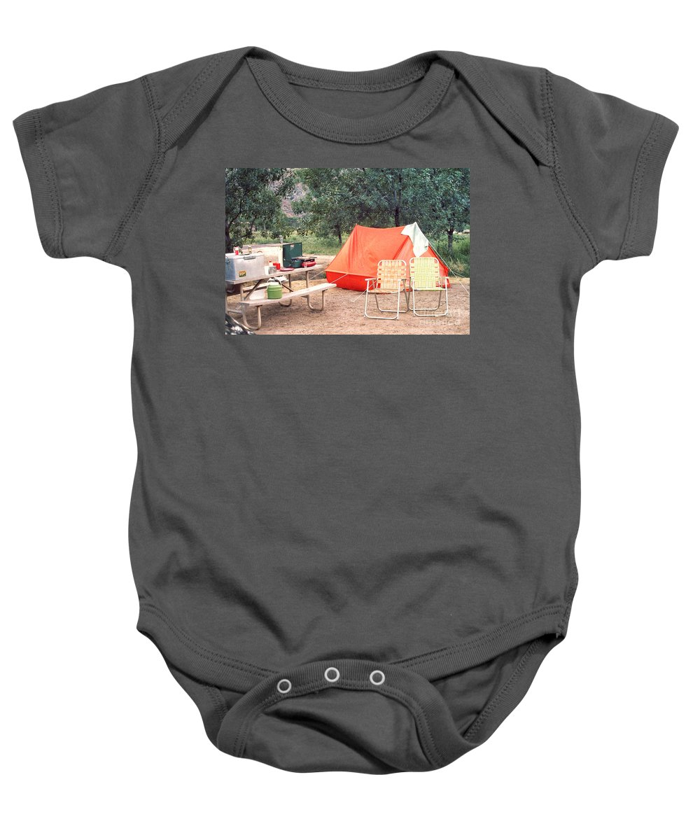 Tent Baby Onesie featuring the photograph Campgrounds Usa by Thomas Woolworth