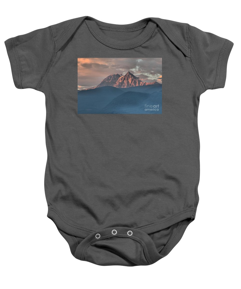 British Columbia Sunset Baby Onesie featuring the photograph Canadian Coastal Mountains Sunset by Adam Jewell