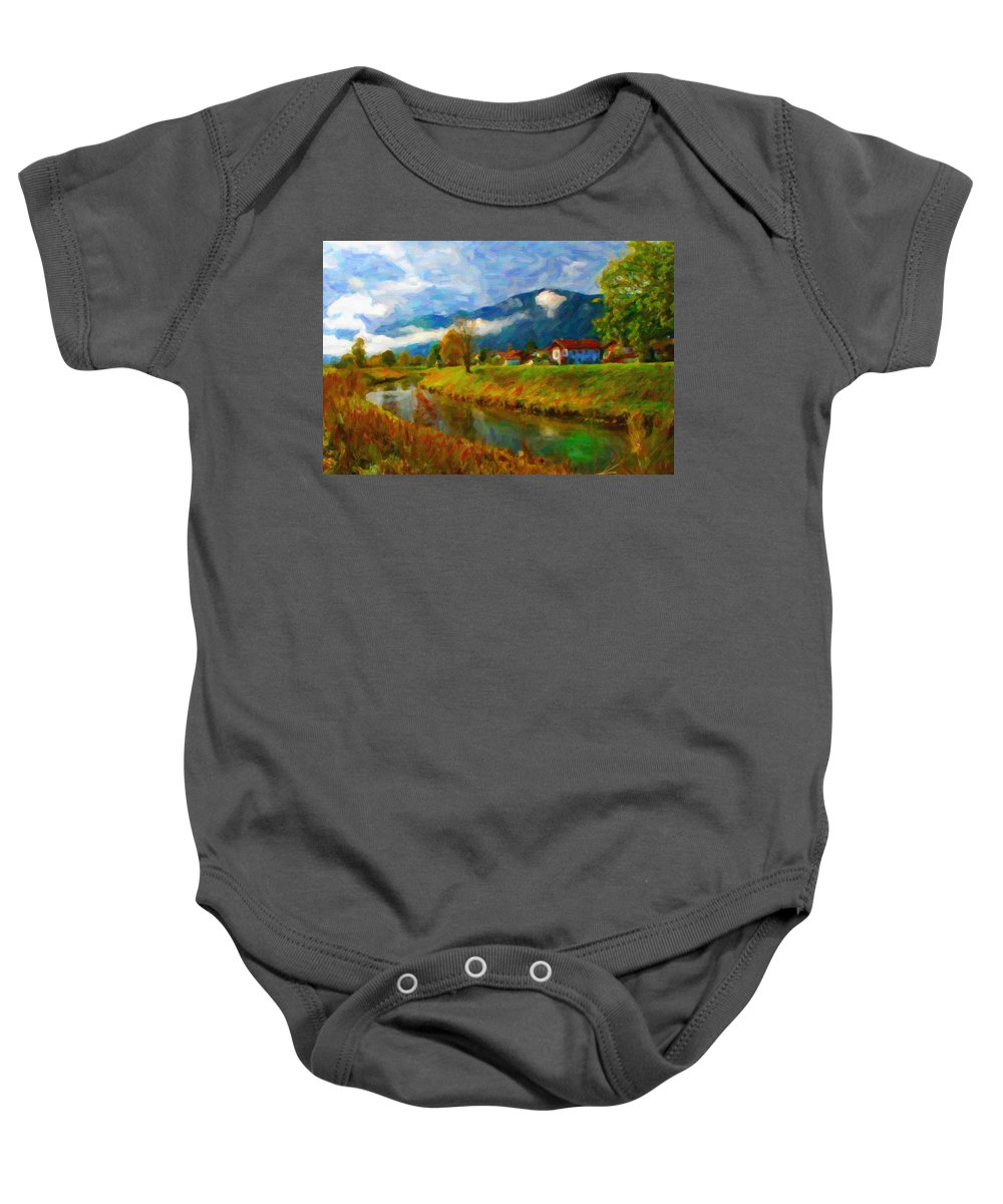 Art Baby Onesie featuring the digital art Canal 1 by Chuck Mountain