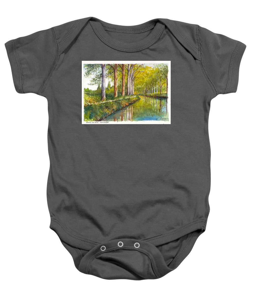 France Baby Onesie featuring the painting Canal Du Midi At Toulouse France by Dai Wynn