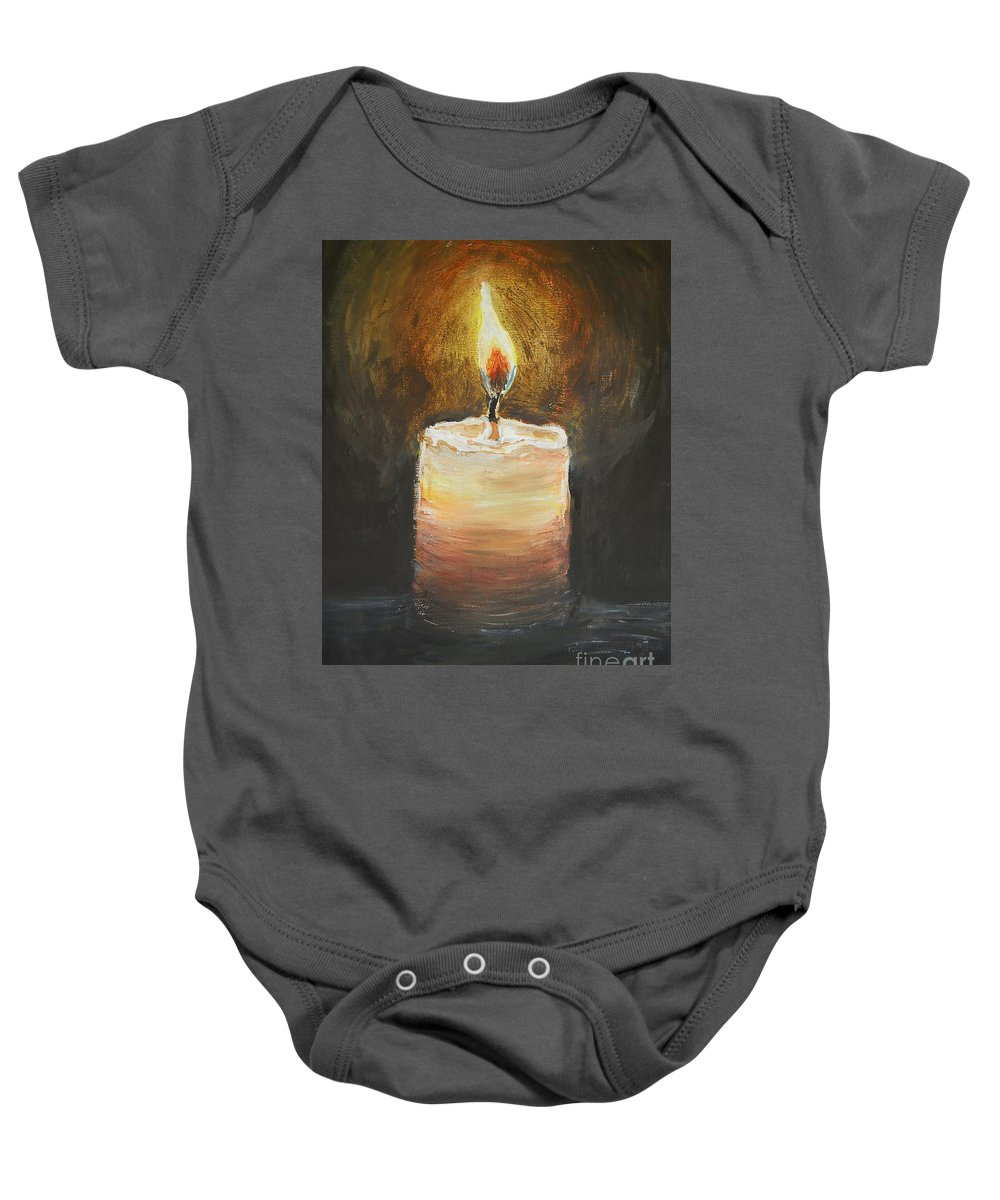 Candle Baby Onesie featuring the painting Candle by Sheena Kohlmeyer