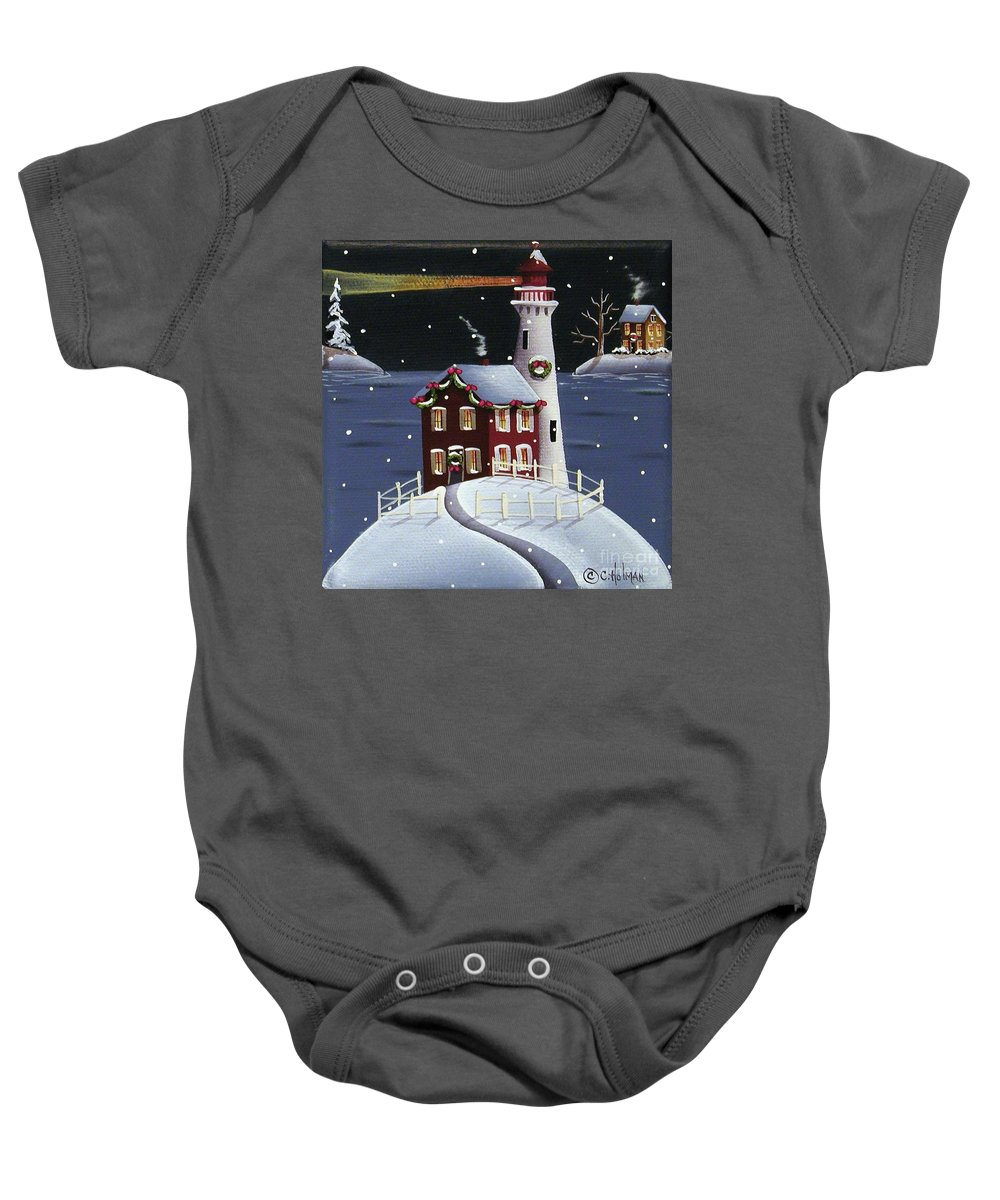 Art Baby Onesie featuring the painting Candy Cane Cove by Catherine Holman