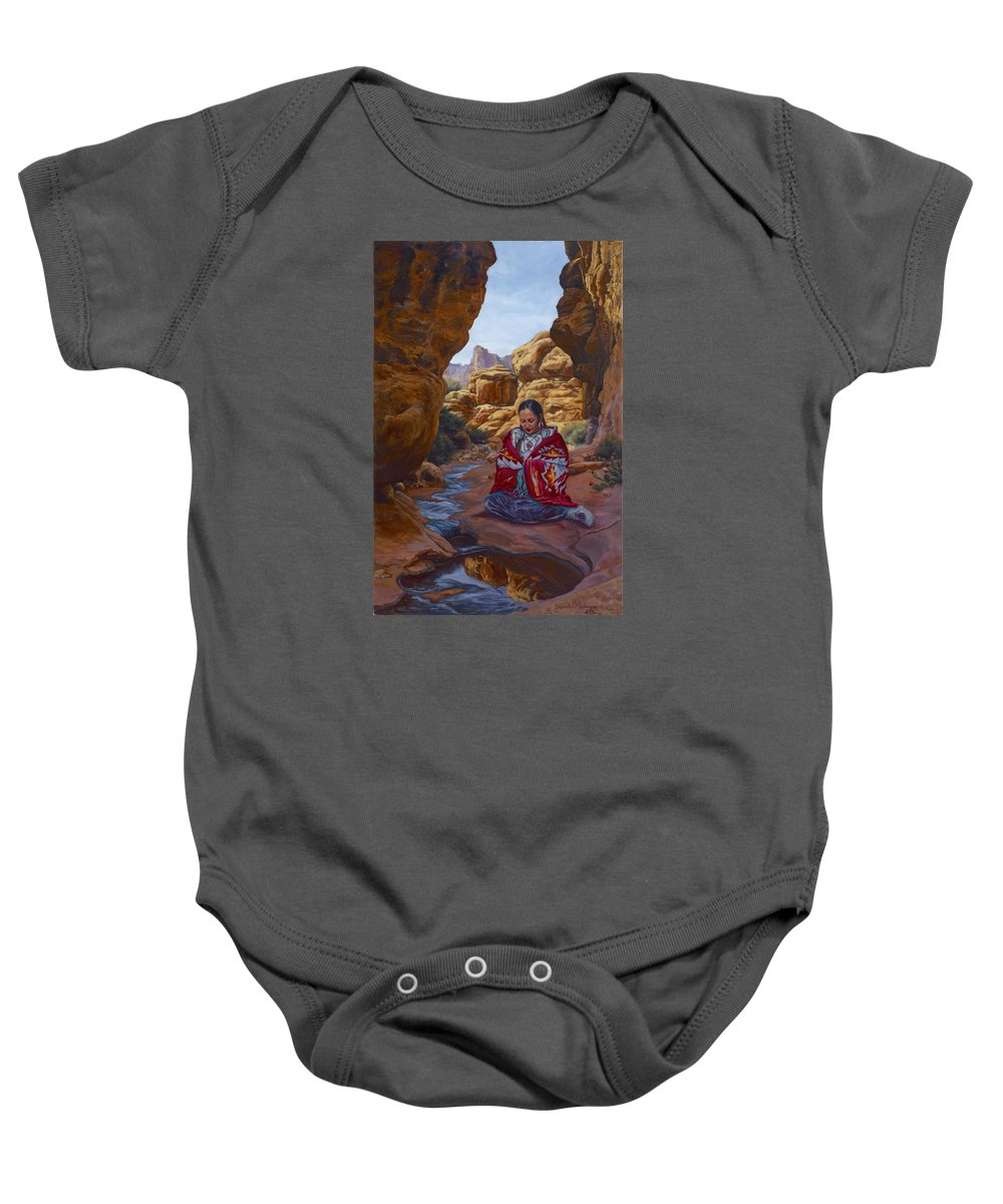 Stream Baby Onesie featuring the painting Canyon Cathedral by Christine Lytwynczuk