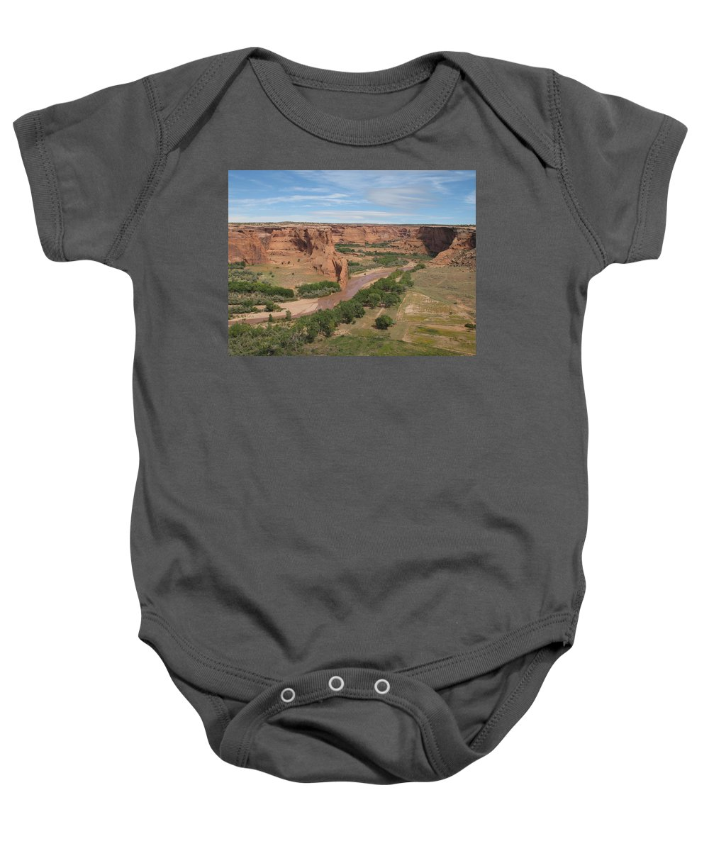 Canyon Baby Onesie featuring the photograph Canyon De Chelly Overview by Christiane Schulze Art And Photography
