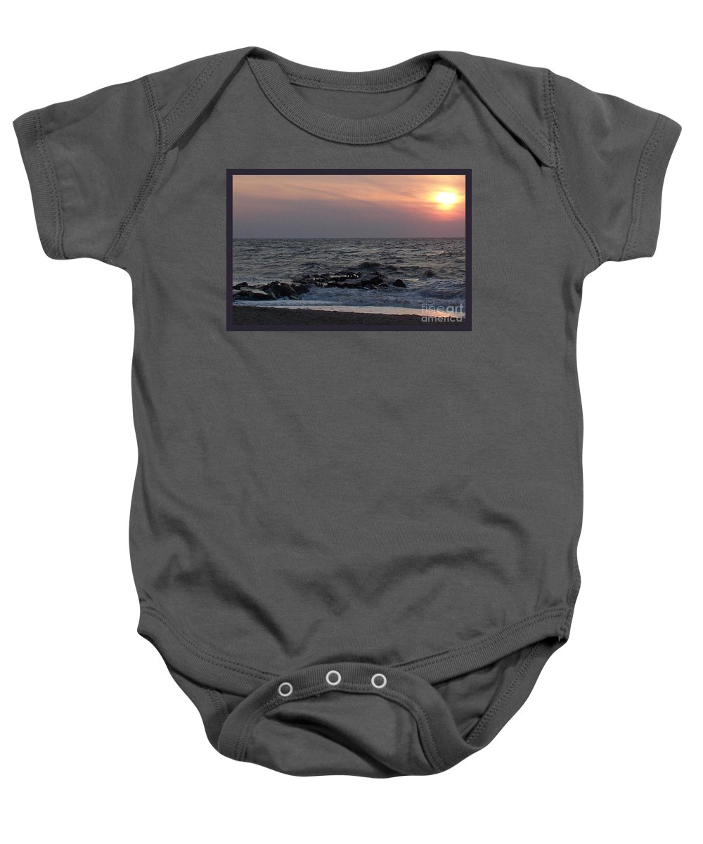 Cape May Baby Onesie featuring the photograph Cape May Sunset Beac H by Eric Schiabor