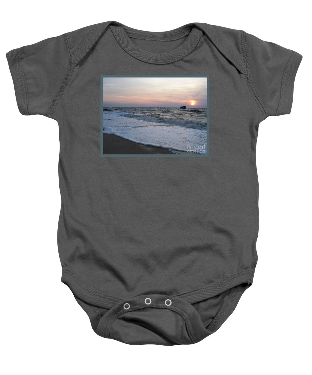 Cape May Baby Onesie featuring the photograph Cape May Sunset Beach Nj by Eric Schiabor